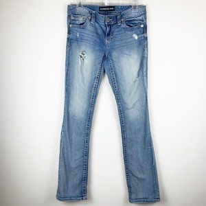 Express Blue Jeans 4 Distressed Bootcut Light Wash